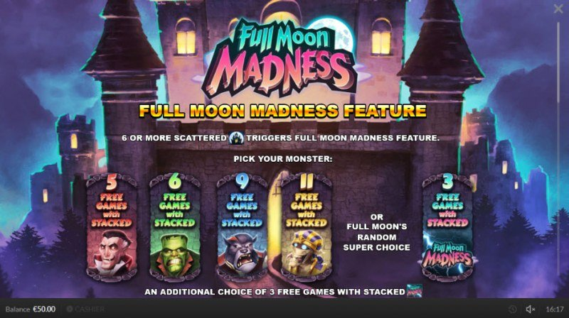 Full Moon Madness :: Free Spins Rules