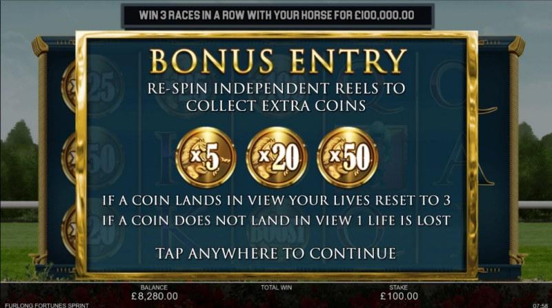 Furlong Fortunes Sprint :: Bonus Entry