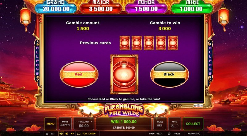 Fuzanglong Fire Wilds :: Red or Black Gamble Feature