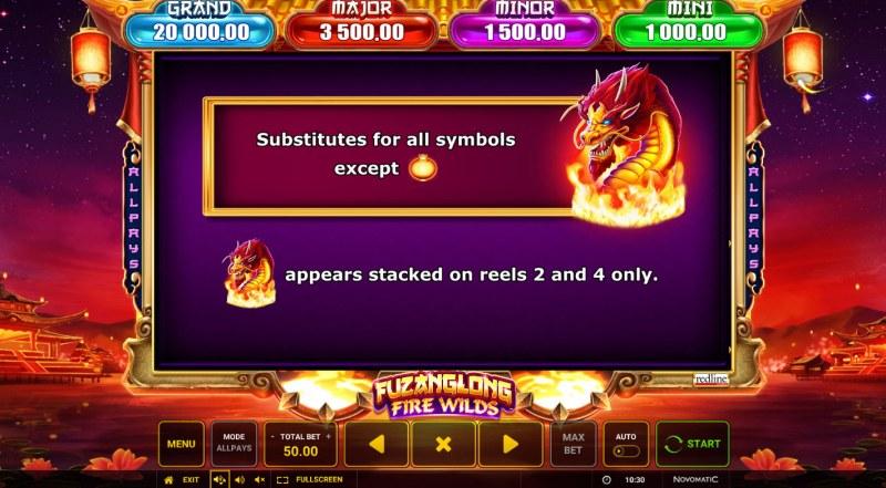 Fuzanglong Fire Wilds :: Wild Symbol Rules
