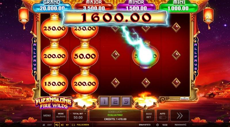 Fuzanglong Fire Wilds :: 3 respins awarded, land additional scatters for extended bonus play