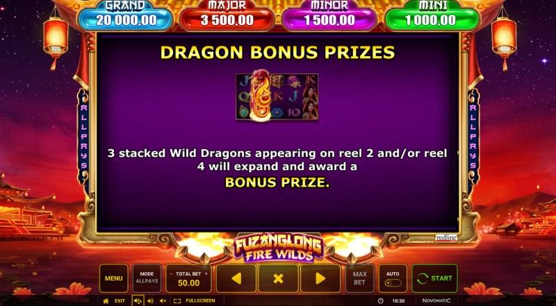 Fuzanglong Fire Wilds :: Dragon Bonus Prizes