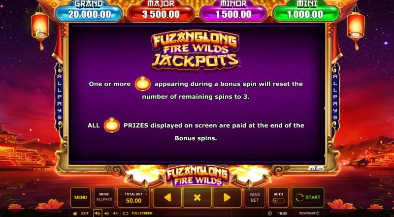 Fuzanglong Fire Wilds :: Jackpot Rules