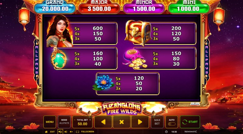 Fuzanglong Fire Wilds :: Paytable - High Value Symbols