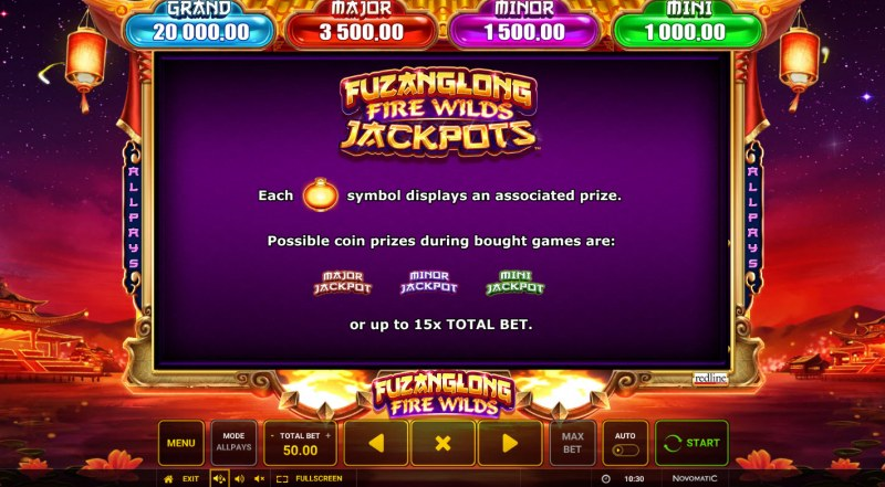 Fuzanglong Fire Wilds :: Mini Minor Major Jackpot