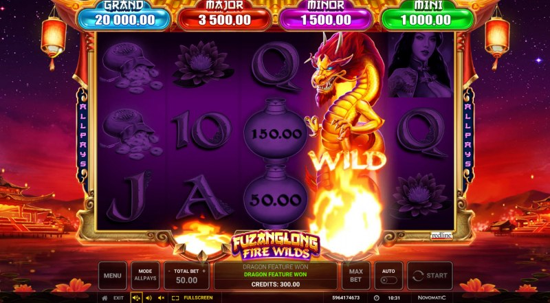 Fuzanglong Fire Wilds :: Dragon wild activates instant prize pick feature