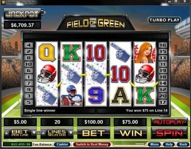 Play slots at Slotnuts: Slotnuts featuring the Video Slots Field of Green with a maximum payout of $250,000