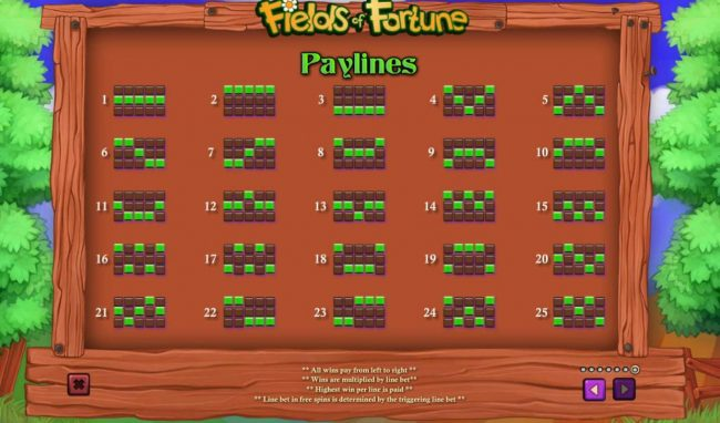 Class 1 Casino featuring the Video Slots Fields of Fortune with a maximum payout of $5,000