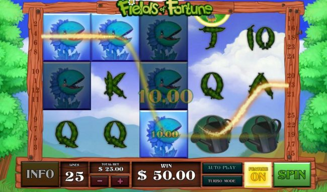 Multiple winning paylines of snap dragons triggers a 50.00 win!