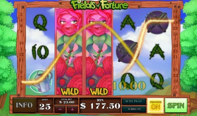 A pair of expanded red rose wilds triggers a 177.50 jackpot award.