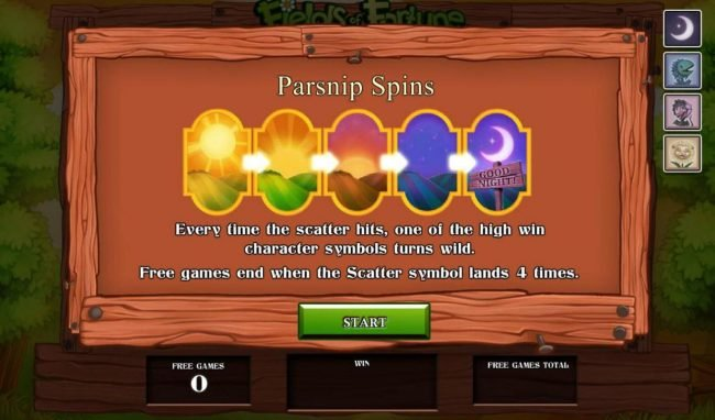 Parsnip Spins - Every time the scatter hits, one of the high win character symbols turns wild. Free games end when the scatter symbol lands 4 times.