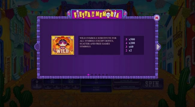 Royal Dice featuring the Video Slots Fiesta De La Memoria with a maximum payout of $250,000