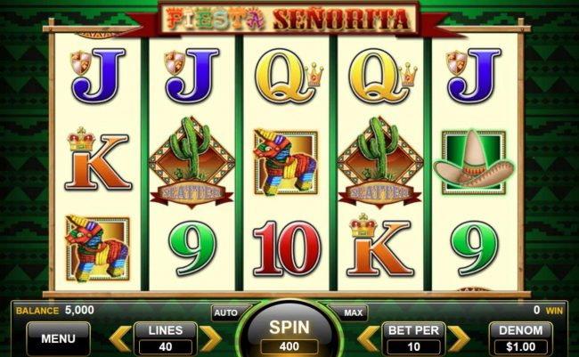 Fiesta Senorita :: Main game board featuring five reels and 40 paylines with a $10,000 max payout.