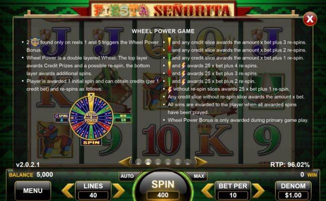 Fiesta Senorita :: Wheel Power Game Rules