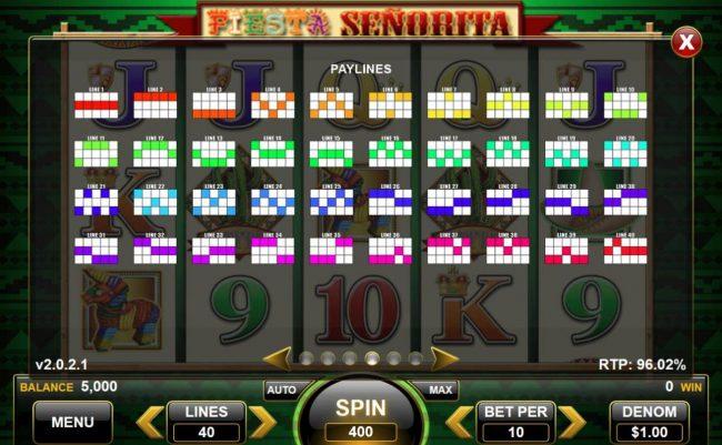 Fiesta Senorita :: Paylines 1-40