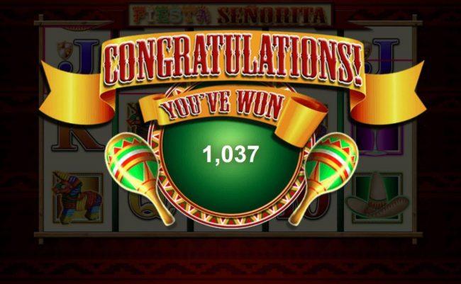 Fiesta Senorita :: Total free games payout 1037 coins