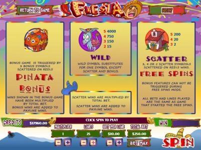 Fiesta :: 3 Pinata bonus symbols scattered on reels triggers Pinata Bonus Feature. Wild symbols substitutes for one symbolexcept scatter and bonus. 3, 4 or 5 scatter symbols scattered on reels wins Free Spins.