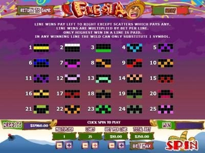 Fiesta :: Payline Diagrams 1-25 Line wins pay left to right except scatters which pays any.