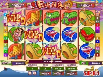 Fiesta :: Line pays $1,500 during multiple winning paylines spin