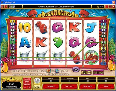 Miami Dice featuring the Video Slots Fighting Fish with a maximum payout of $12,500