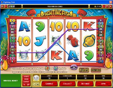 Slots Village featuring the Video Slots Fighting Fish with a maximum payout of $12,500