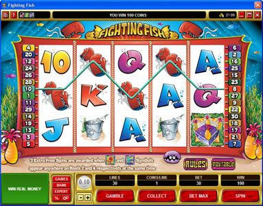 Dreamy 7 featuring the Video Slots Fighting Fish with a maximum payout of $12,500
