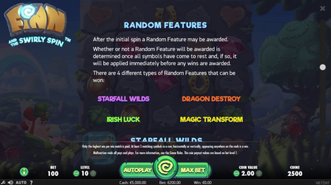 Dragonara featuring the Video Slots Finn and the Swirly Spin with a maximum payout of $5,000