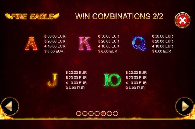Fire Eagle :: Low Value Symbols
