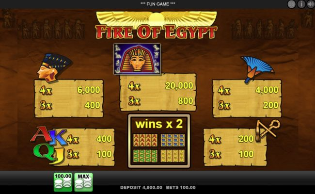 Play slots at 888 Casino: 888 Casino featuring the Video Slots Fire of Egypt with a maximum payout of $25,000