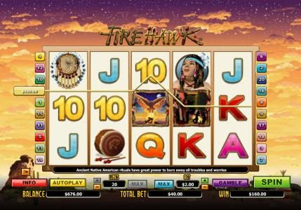 Four of a Kind triggers a  $160.00 line pay