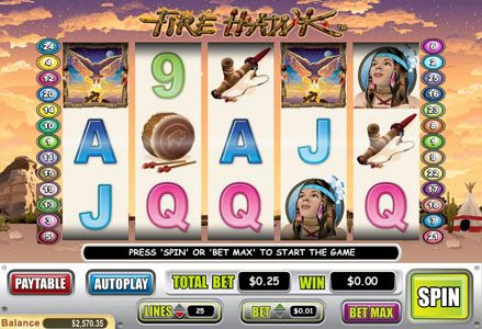 Liberty Slots featuring the Video Slots Fire Hawk with a maximum payout of $60,000