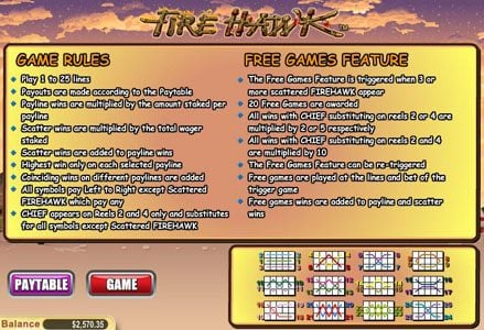 Lincoln featuring the Video Slots Fire Hawk with a maximum payout of $60,000