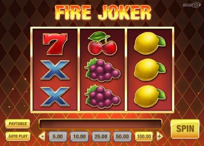 Fire Joker :: Main game board featuring three reels and 5 paylines with a $16,000 max payout
