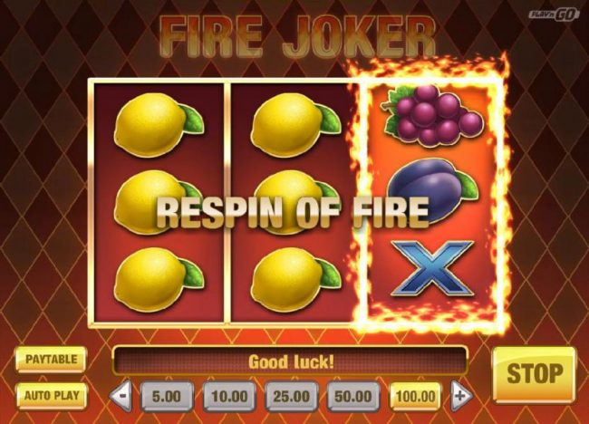 Fire Joker :: Stacked symbols on reels 1 and 2 triggers a respin of reel three.