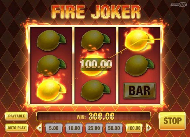 Fire Joker :: Respin of Fire triggers a 300.00 big win.