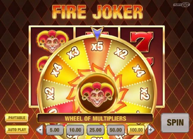 Fire Joker :: Spin the reel to determine your payout multiplier.
