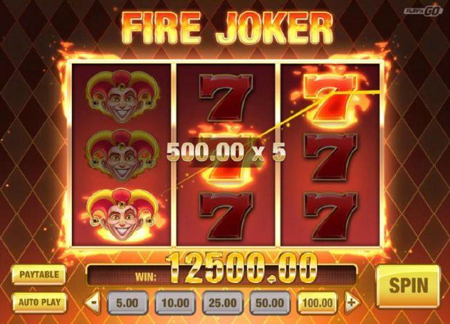 Fire Joker :: Multiple winning paylines triggers a 12,500.00 super big win!