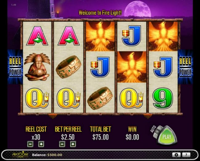 Casino Red Kings featuring the Video Slots Fire Light with a maximum payout of $2,500