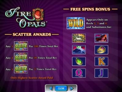free spins bonus and scatter awards
