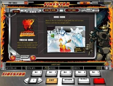 Rose Slots featuring the Video Slots Firestar with a maximum payout of $12,500