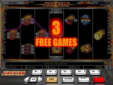 Wicked Bet featuring the Video Slots Firestar with a maximum payout of $12,500