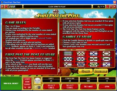 Casino Action featuring the Video Slots First Past The Post with a maximum payout of $10,000