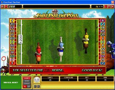 ZigZag777 featuring the Video Slots First Past The Post with a maximum payout of $10,000