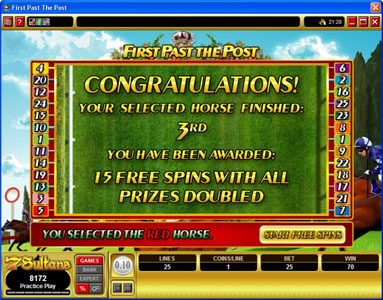 Play slots at Jackpot Mobile: Jackpot Mobile featuring the Video Slots First Past The Post with a maximum payout of $10,000