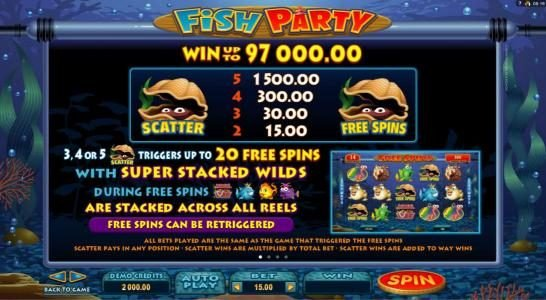 Play slots at Vegas Slot: Vegas Slot featuring the Video Slots Fish Party with a maximum payout of $388,000