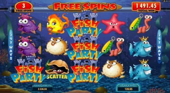 Jackpot Mobile featuring the Video Slots Fish Party with a maximum payout of $388,000