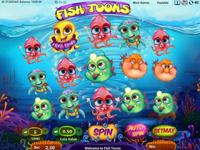 My Touch featuring the Video Slots Fish Toons with a maximum payout of $3,000