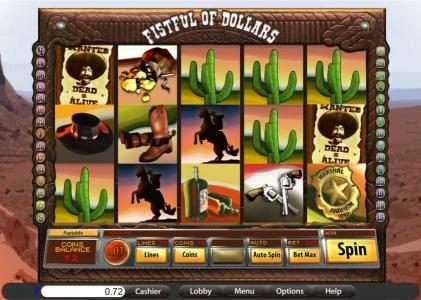 Villa Fortuna featuring the Video Slots Fistful of Dollars with a maximum payout of $6,000