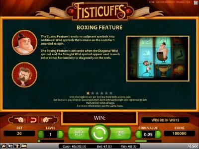 Come On featuring the Video Slots Fisticuffs with a maximum payout of $5,000