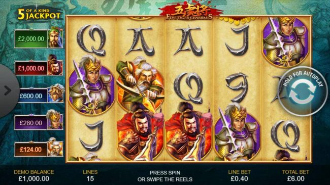 An Asian warrior themed main game board featuring five reels and 15 paylines with a progressive jackpot max payout